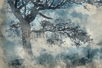 Картина Акварельная живопись красивый пейзаж сельской местности вокруг Cummock Water осенью на туманное утро