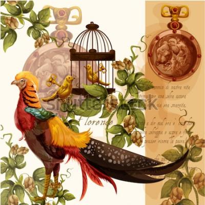 Картина Векторная цифровая акварель иллюстрация с Флоренс Лев и фазан идеально подходит для текстильных принтов и украшений