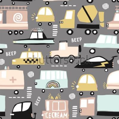 Картина Безшовная картина с милыми автомобилями. Автомобили шаржа, люки дороги, иллюстрация вектора скрещивания зебры. Идеально подходит для детских тканевых, текстильных, детских обоев. Векторные иллюстрации