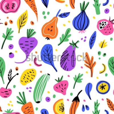 Картина Фрукты и овощи плоской рисованной бесшовные модели. Здоровое питание мультфильм текстуры. Иллюстрации скандинавских натуральных продуктов. Диета эскиз цветных клипартов. Кухонный текстиль, фон векторн