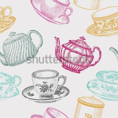 Картина винтажный чайный фарфор. бесшовные модели