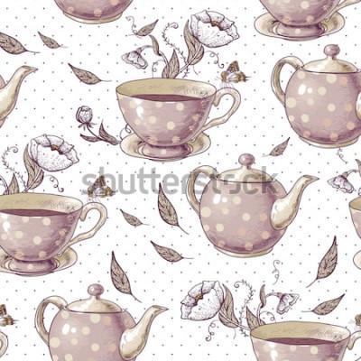 Картина Бесшовный фон с чашки чая, горшки и цветы в винтажном стиле.