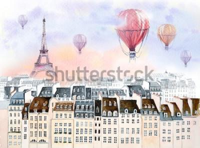 Картина Париж с воздушным шаром
