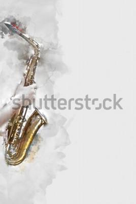 Картина Абстрактный саксофон на переднем плане. Крупным планом, Акварельные краски джаз, играет на саксофоне.