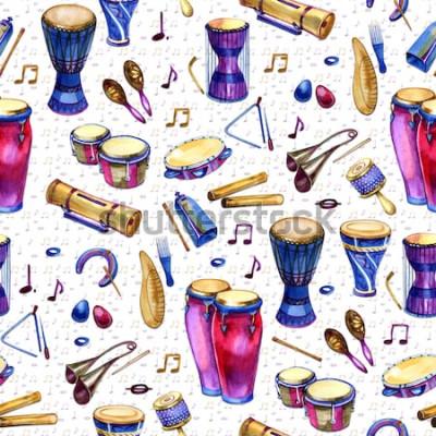 Картина Бесшовный фон с барабанами в стиле акварели на белом фоне. Ударные музыкальные инструменты. Красочный дизайн для ретро-вечеринки в стиле Мемфиса. иллюстрация
