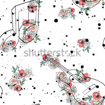 Картина Вектор бесшовные модели графическая иллюстрация гитара ноты, цветы листья филиал капельное пятно пятно чернила, брызги, спрей Эскиз рисунок стиль каракули Художественный абстрактный акварельный силуэт