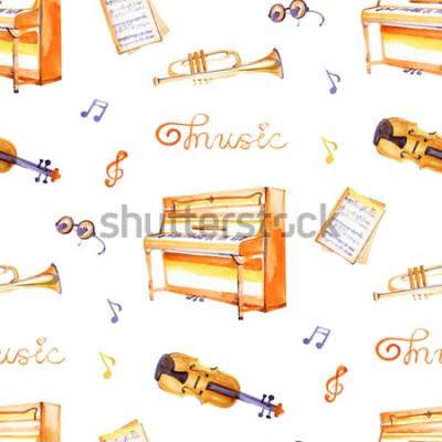 Картина Безшовная картина с нарисованными рукой музыкальными инструментами на текстуре предпосылки акварели.