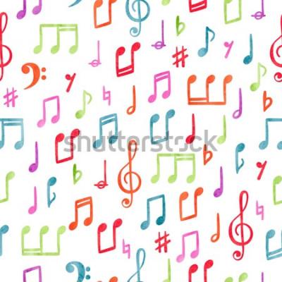 Картина Бесшовные красочные музыкальные ноты шаблон. Музыкальный акварельный фон