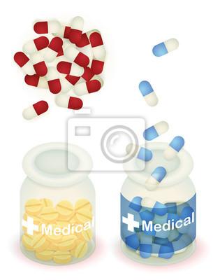 Капсула таблетки и таблетки в чистой бутылке