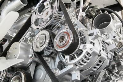 Картина Автомобильный двигатель крупным планом Часть двигателя автомобиля
