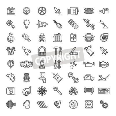 Картина Набор значков автозапчастей. Символ автосервиса, двигатель двигателя, гаечный ключ и фильтр, векторные иллюстрации
