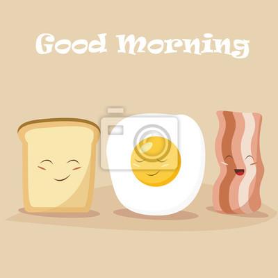 Мультфильм завтрак Векторные иллюстрации. Смешные мультипликационных персонажей яйцо, бекон, тосты. Плоский дизайн.