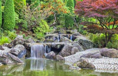 Картина Каскад водопада в японском саду в Бонне