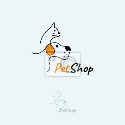 Кошка и собака шаблон логотипа вектор.