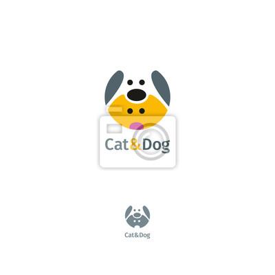 Кошка и собака векторный логотип шаблон