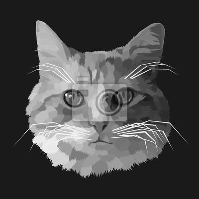 cat pop art portrait polygonal geometric vector