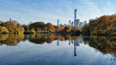 Картина Центральный парк отражение падение пейзаж в Нью-Йорке