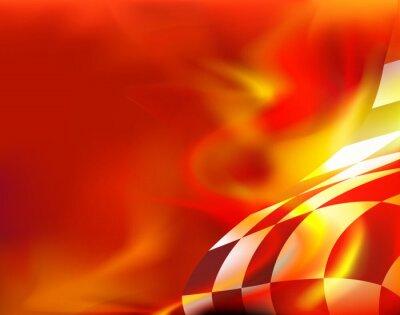 Картина клетчатый флаг фон и красный огонь