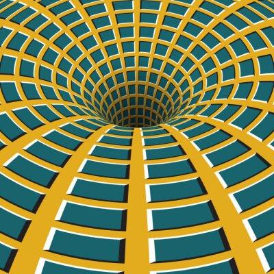 Картина Клетчатые воронки. Вращающийся отверстие. Пестрый движущийся фон. Оптическая иллюзия иллюстрация.