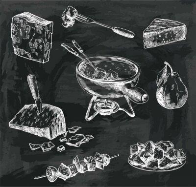 Картина Сырное фондю эскизы