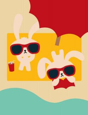 Шикарный Кролик на пляже в Summertime - векторный файл EPS10