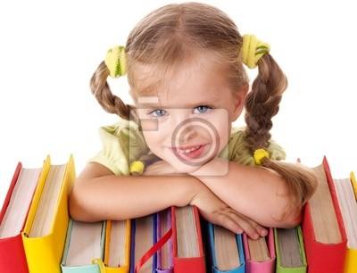 Ребенка, проведение стопку книг.