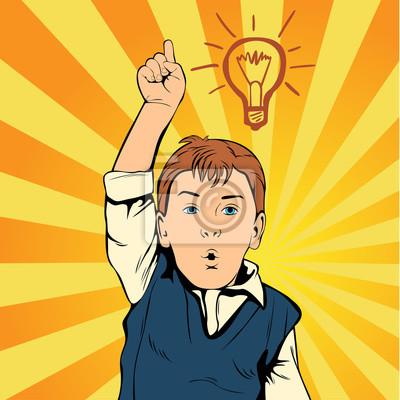 Идея для детей с лампой. Творческий мальчик придумал эту идею. Человек на работе. Ретро стиль поп-арт