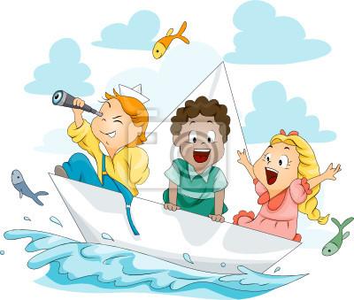 Дети на бумажный кораблик