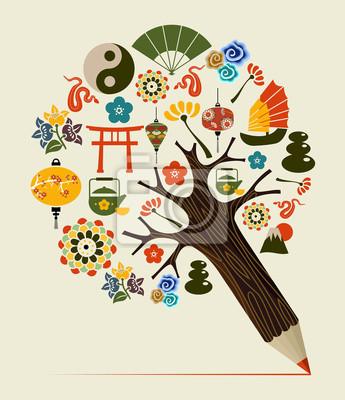 Китай традиции концепция карандаш дерево
