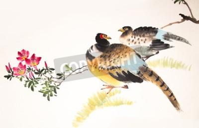 Картина Китайская живопись тушью птицы и растения