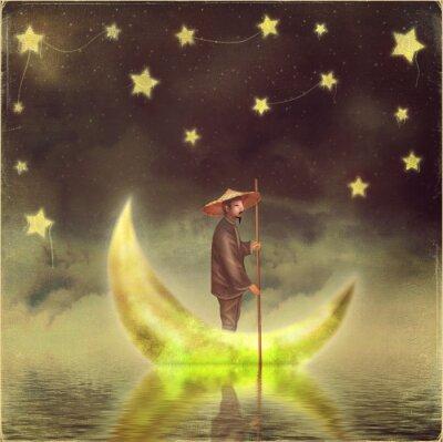 Картина Китайский человек стоит на Луне в утреннем тумане