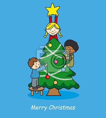 Рождественская открытка. Дети украшения елки