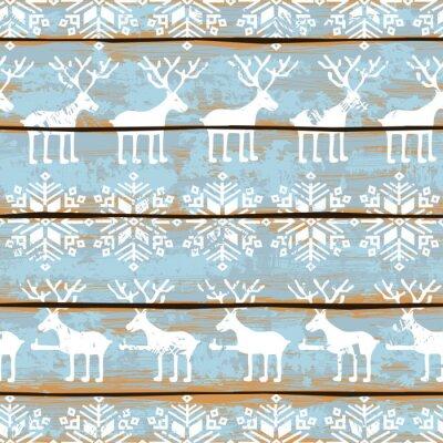 Картина Рождество бесшовные модели с оленями и снежинками