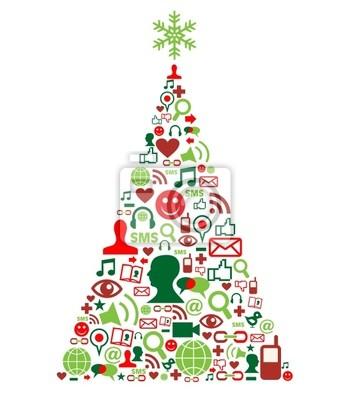 Рождественская елка с иконками социальных медиа
