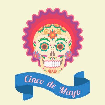 Картина Синко де Майо, окрашенные черепа в национальных традициях Мексики
