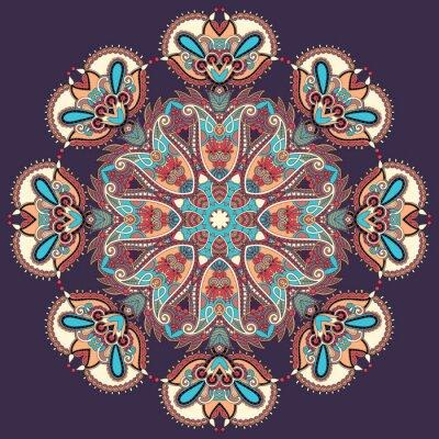Картина Круг кружева орнамент, круглые декоративные геометрический узор салфетка