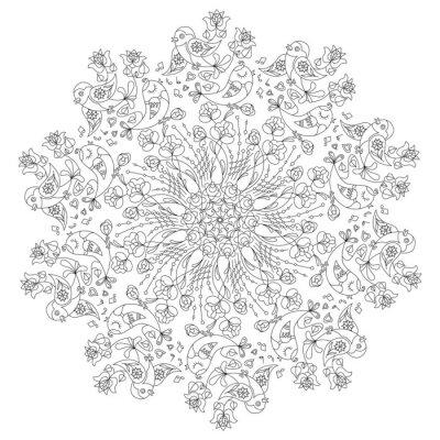 Картина Круговой узор с птицами и цветами в стиле Doodle