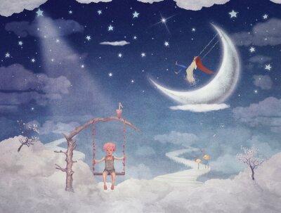 Картина Город детей на фантастические облака в небе