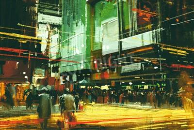 Картина городской пейзаж картины, толпы людей на оживленной улице пересечения