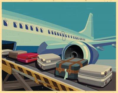 Картина гражданский самолет и багаж старый плакат