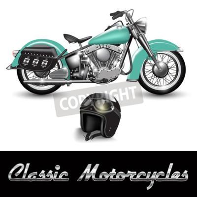 Картина Классический мотоцикл и шлем с защитными очками. Векторные иллюстрации