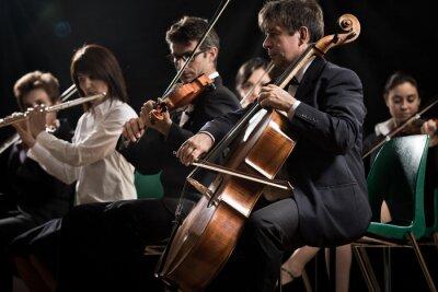 Картина Концерт классической музыки: симфонический оркестр на сцене