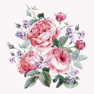 Картина Классическая старинные цветочные открытки, акварель букет