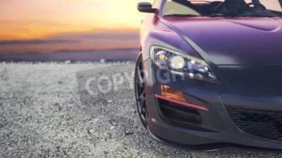 Картина Близкие автомобили класса люкс, когда солнце садится за кулисами.