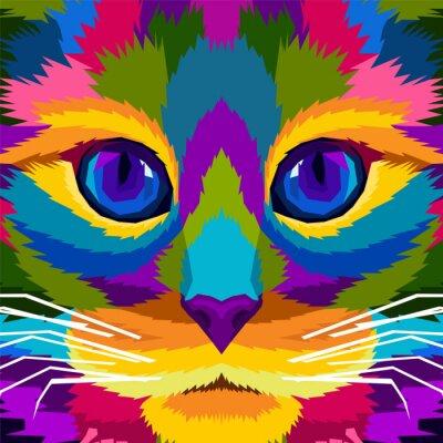 close up colorful cat pop art portrait vector illustration