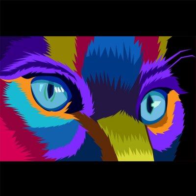 close up colorful eye cat pop art portrait