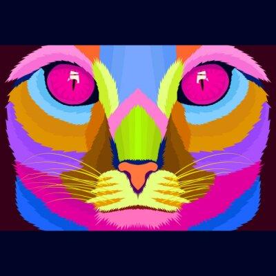 close up face cat pop art portrait style vector illustration