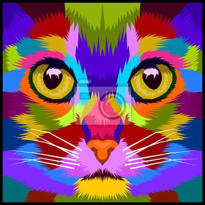 close up face cat pop art portrait vector illustration