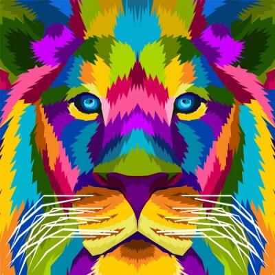 close up lion king pop art portrait vector illustration
