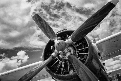 Картина Крупным планом старого самолета в черно-белом